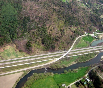Aerial Photograph of the Winooski River and I-89