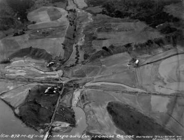 Aerial Photograph of Covered Bridge on the Winooski River