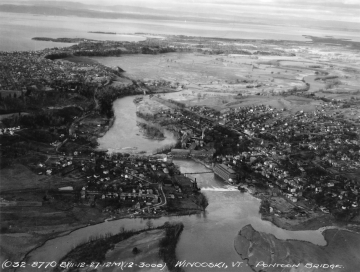 Aerial Photograph of the Winooski River, Dam and Washed out Bridge