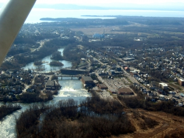 Winooski River, dam and  bridge