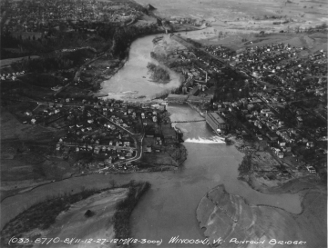 Aerial Photograph of the Winooski River, Pontoon Bridge, Dam, and Washed out Bridge