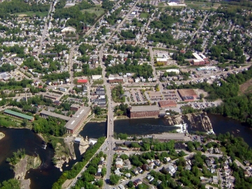 Aerial Photograph of the Winooski River and Bridge