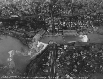 Aerial Photograph of the Winooski River and Pontoon Bridge