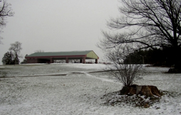 The picnic pavilion at Oakledge Park, where the manor once stood.