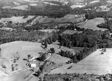 Aerial view of farm built by ancestor of Calvin Coolidge