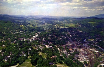 Aerial View of Railroad, Town, and Hillside