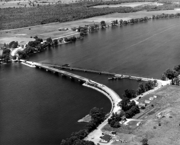 Aerial of the Alburg Bridge