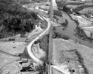 Aerial of Route 2, Railroad Tracks, and the Winooski River