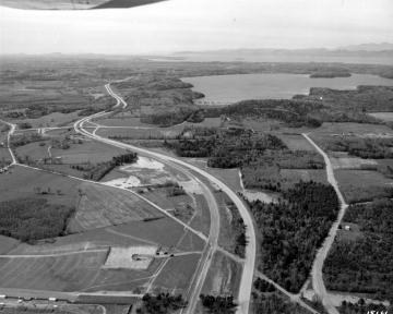 Aerial of Farms and Lake Champlain