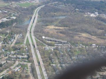 Bird's Eye View of Highway and Town