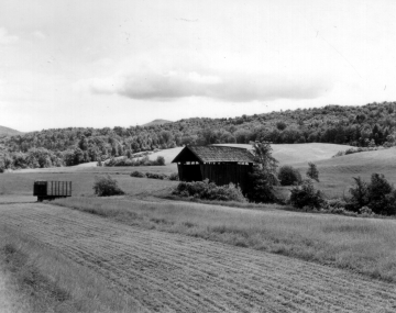 Covered Bridge and Farm Fields