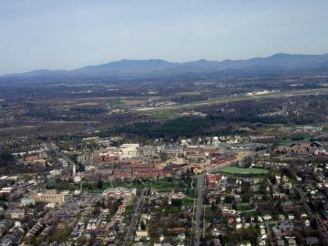 Aerial View of Burlington Looking East to the Mountains
