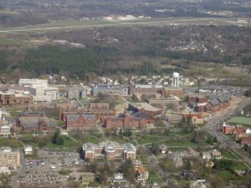 Aerial view of UVM's Central Campus