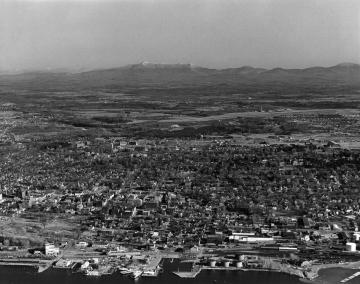 Aerial View of Burlington (Harbor to Mountians)