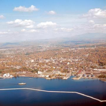 Aerial View of City and Waterfront