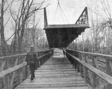 Installing Bike Path Bridge