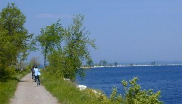 Biking over Colchester Point Causeway