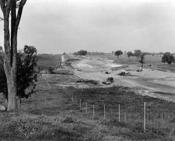 Early stages of interstate -89 construction through pasture