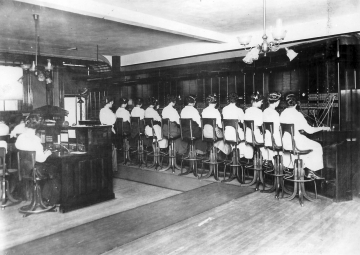 A telephone switchboard room