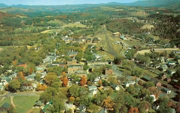 Aerial View of Vermont Town in Fall