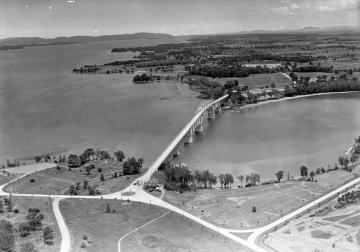 Aerial View of Champlain Bridge, looking towards Chimney Point