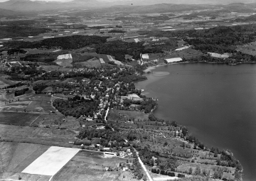 Aerial view of Ferrisburg and Lake Champlain