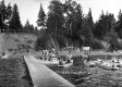 Canoeing and Swimming on Beach at St. Anne's Camp in Isle La Motte