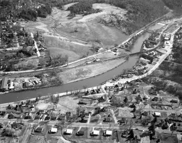 Aerial of Montpelier: River, Railroad and Residential Homes