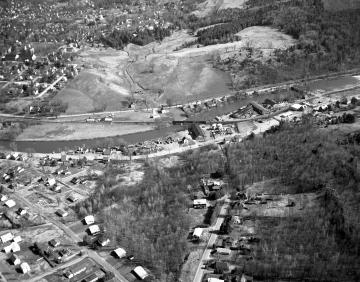 Aerial of Montpelier: Hills, River, Railroad and Residential Buildings