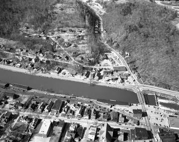 Aerial View Montpelier: River, Bridge, Dam, Railroad