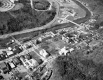 Aerial of Montpelier: School, State House, Railroad and River