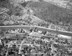 Aerial View of Montpelier: Railroad, Automobiles and Bridge
