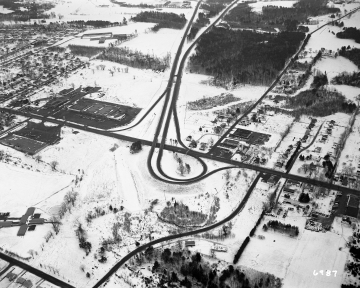 Aerial View of Burlington Area: End of Highway in Winter
