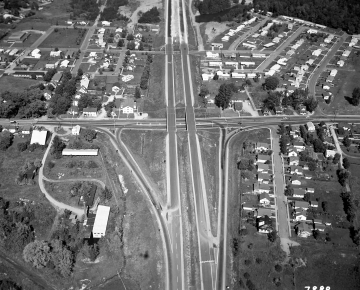 Aerial of Construction of Interstate: Near Neighborhoods