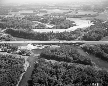 Aerial View: Section of Interstate over River