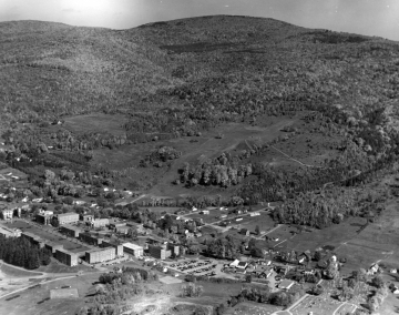 Aerial of Norwich University and mountains