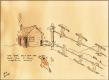 Cartoon of rope tow at Dutch Hill Ski Company