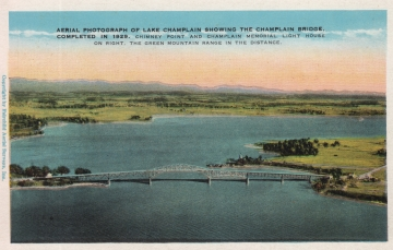 Aerial Postcard of Lake Champlain Bridge