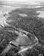Aerial View of Winooski River Dam and Railroad Tracks