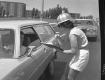 Female Traffic Surveyor and Stopped Car on Williston Road