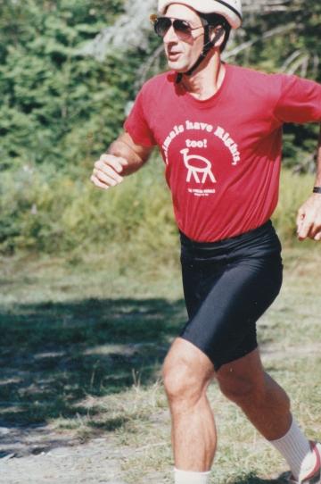 Man Running in a Helmet