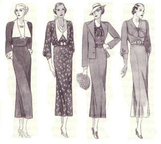 Fashion changes throughout the 30s & 40s