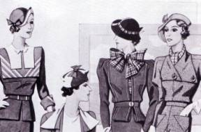 Because of the necessity for simple and tidy outfits, menswear also began to influence women's fashion in the 1930s. Two piece suits became a practical
